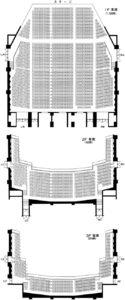 川口総合文化センターリリアのメインホール・プロセニアム型座席表